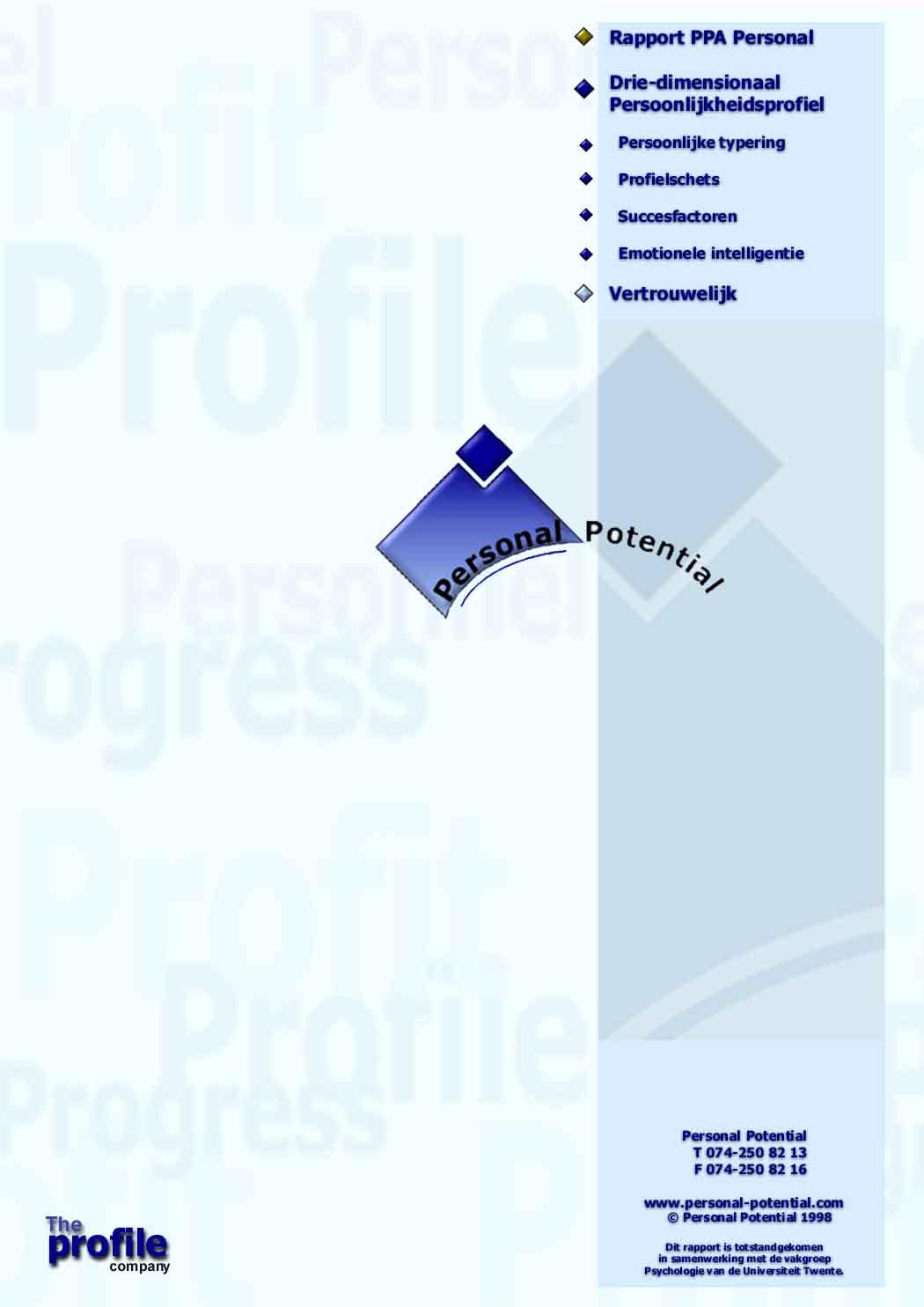 Demo versie van het rapport PPA Personal Premium